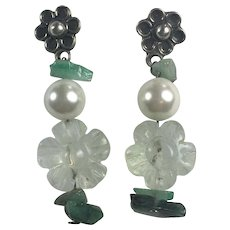 Natural Flourite, Emerald chips and Cultured Pearl Sterling earrings