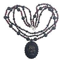 Vulcanite Mourning Cameo 3 strand Garnet, Onyx, Tourmaline, Lava necklace
