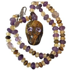 Natural Tigers Eye Skull and Amethyst, Flourite and Citrine Necklace