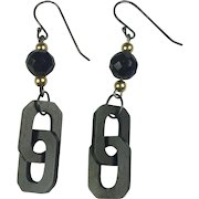 Whitby Jet and Vulcanite chain /14K Gold / sterling silver earrings