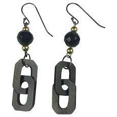 Mourning Jet and Vulcanite chain /14K Gold / sterling silver earrings