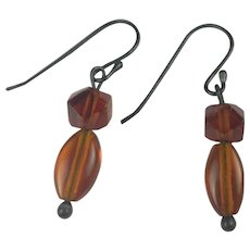 Hand Carved Natural Amber drop earrings