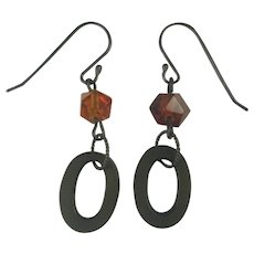 Vulcanite and Natural carved Amber earrings