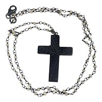 Whitby Jet Mourning Cross Cultured Pearl chain