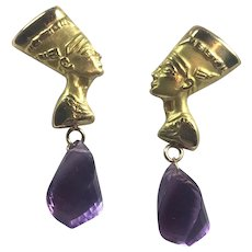 18K Gold Nefertiti and Natural Fancy Cut Amethysts: Egyptian Hallmarked