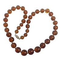 Vintage Natural Baltic Cognac Amber necklace 14K Gold clasp