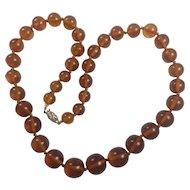 Vintage Natural Baltic Cognac Amber necklace 14K Gold clasp