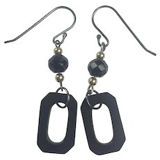 Whitby Jet, Vulcanite, 14K Gold and Sterling earrings