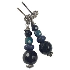Natural Sapphire, Lapis, Onyx sterling silver earrings