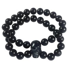 Black Horn Skull and Onyx bracelet: Mens