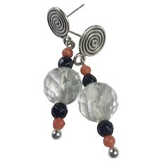 Rock Crystal, Natural Coral and Black onyx sterling earrings