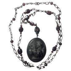 Vulcanite Mourning Locket/Horn Skull/ Sterling Silver/Garnet necklace/ Memento Mori