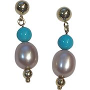 14 K Gold Natural Sleeping Beauty Turquoise, AAA Blush cultured  Pearl earrings
