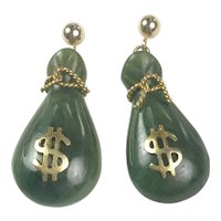 Vintage Natural carved Jade and Gold drop earrings