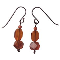 Carved Natural Amber and Coral bead earrings