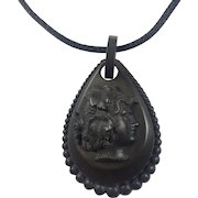 Antique Victorian Vulcanite Mourning Pendant