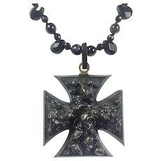 Large RARE Vulcanite Mourning Cross / Black Onyx and Agate Necklace