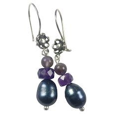 Natural Amethyst and Cultured Peacock Pearl Sterling silver earrings