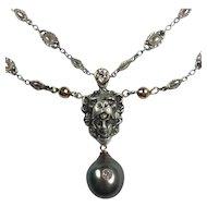 Old Mine Diamonds, Lion Pendant, South Sea Cultured Pearl Necklace