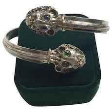 2 LIONS, Diamond, Sapphire, Emerald bangle/ silver, gold