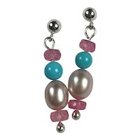 Natural Sleeping Beauty Turquoise, Pink Sapphire / Cultured AAA Pearl Sterling earrings
