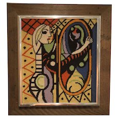 Vintage Needlepoint: Picasso Reproduction / 1970/ Custom frame