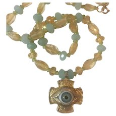 Glass Eye Cross, Natural Amazonite, Citrine and Peridot leather necklace: RARE