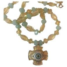 Glass Eye Cross, Natural Amazonite, Citrine and Peridot necklace: RARE