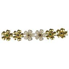 18K Gold Pavé Diamonds, Emeralds, Rubies bracelet