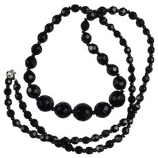 Vintage French Jet Mourning Necklace: 29.5 inches