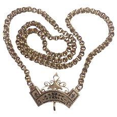 Antique Victorian 10K Gold Necklace / Taille D' Epargne Black Enamel: Rare