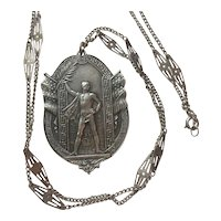 Art Deco Sterling Silver Gymnastics Medal and Chain: engraved 1923