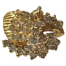 Vintage 14K Gold and Diamond Cocktail Ring