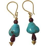 Natural Garnet, Kingman Mine Turquoise, 18K Gold Vermeil earrings