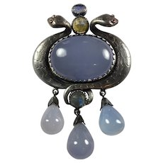 Vintage Egyptian Revival sterling Snakes Natural Chalcedony/ Pendant/ brooch