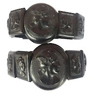 2 Antique Victorian Mourning Hermés bracelets / Pressed Horn Jet: Pair/ RARE
