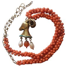 Victorian Dogbone Coral gold necklace/ Egyptian Revival Ram Pendant/Baroque Pearl Drops