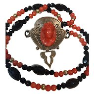 Carved Natural Coral Cameo 14K Gold/ Onyx Tourmaline