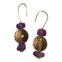 Natural Amethyst/Smoky Quartz 18k GF earrings