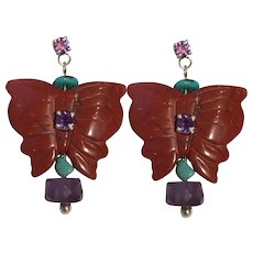 Carved Jasper Butterflies, Natural Turquoise and Amethyst earrings
