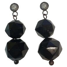 Whitby Jet beads and Natural Diamond Sterling Earrings