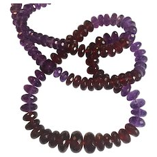 Natural Sri Lankan Hessonite Garnet, Amethyst  bead necklace: over 300 ctw