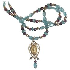 Natural Apatite, Garnet and 14K Gold necklace/ Mary Medal