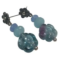 Natural Flourite, Chalcedony, Amazonite Sterling earrings