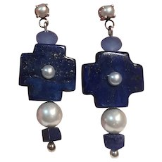 Natural Lapis, Chalcedony, Cultured Pearl Sterling Earrings