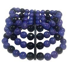 Natural Lapis and Onyx 4 strand bracelet