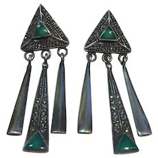 Art Deco C1925 Sterling, Marcasite, Chrysoprase earrings