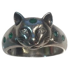 Egyptian Revival Cat Sterling ring Natural Diamonds and Emeralds