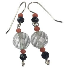 Deco Rock Crystal Onyx Coral Sterling Silver earrings