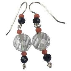 Deco Rock Crystal Onyx Coral Sterling Silver earrings